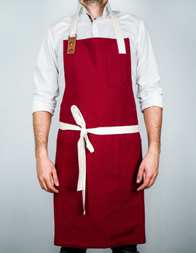 tablier professionnel rouge griotte