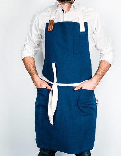 tablier professionnel bleu indigo